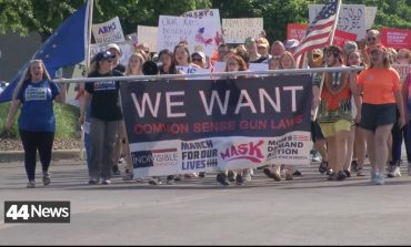 Demonstrators Show Up Outside GOP Convention In Evansville
