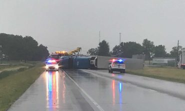 Semi Over Turned and Power Outages Due to Storm