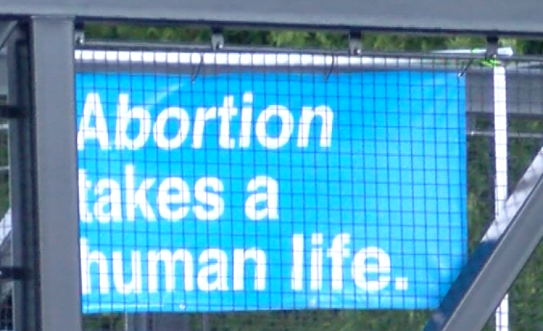 Pro-Life Activists Display Banner on Lloyd Expressway