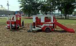 Firetruck Unveiled at Stoplight City Playground