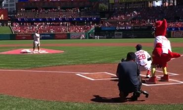 Evansville Native Throws First Pitch At Cardinal's Game