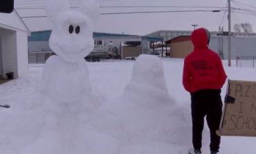 Owensboro Student Builds Mickey Mouse Sculpture Out of Snow