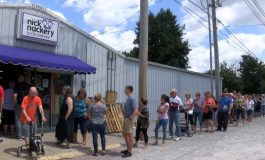 Hundreds Line Up To Buy Eclipse Glasses At Nick Nackery