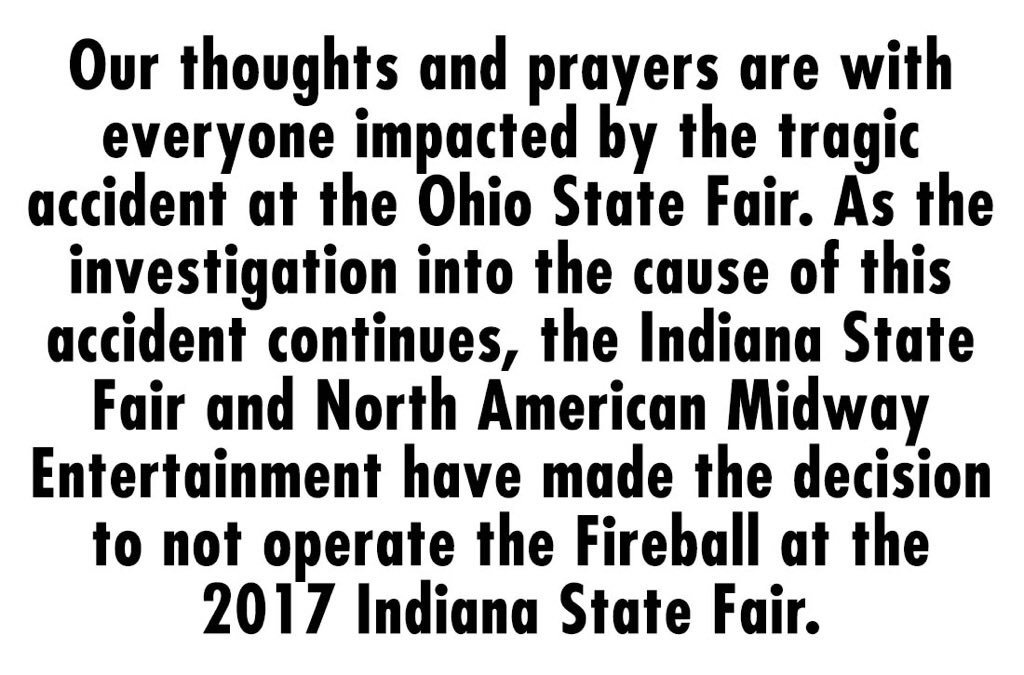 Indiana State Fair Won't Operate Fireball Ride After Ohio